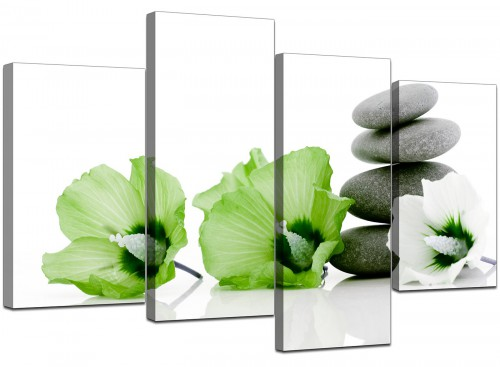 Four Part Set of Living-Room Green Canvas Prints