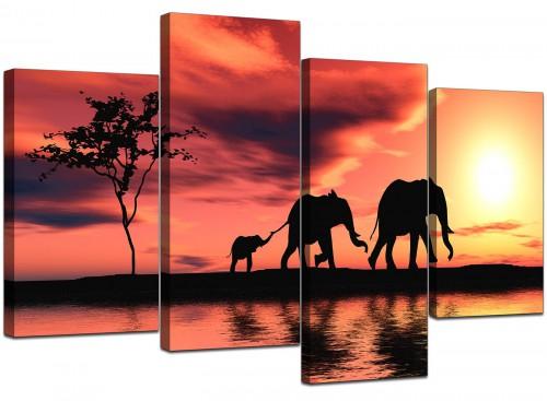 4 Part Set of Extra-Large Orange Canvas Prints