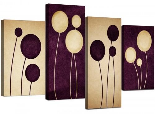 Set Of Four Living-Room Purple Canvas Wall Art