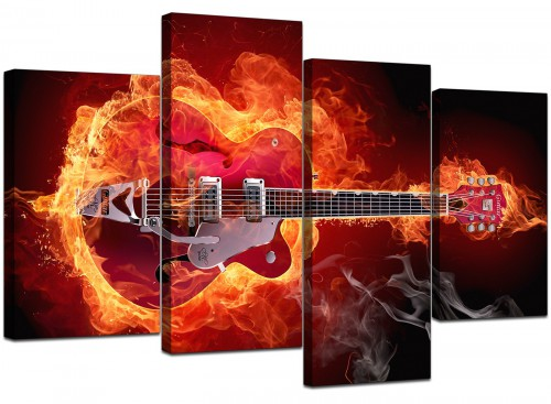 Flaming Red Electric Guitar Music Canvas