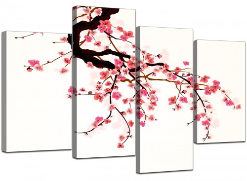 Four Panel Set of Living-Room Red Canvas Art