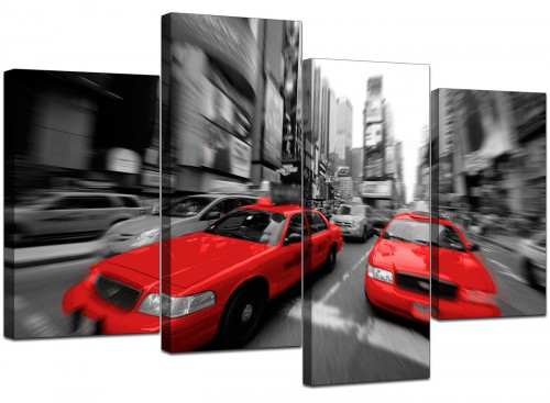 4 Part Set of Living-Room Red Canvas Pictures