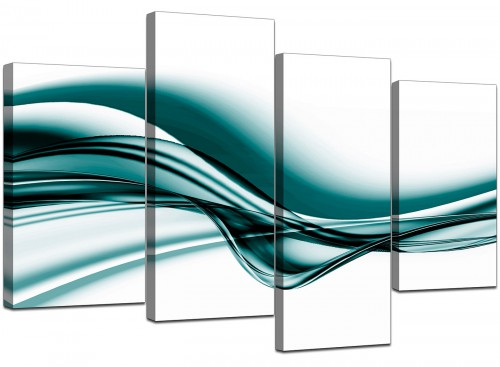 4 Panel Set of Living-Room Teal Canvas Pictures