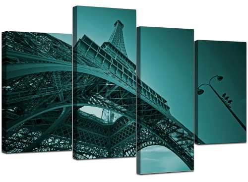 Four Part Set of Living-Room Teal Canvas Wall Art