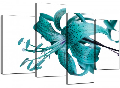 4 Panel Set of Modern Teal Canvas Pictures