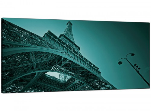 Teal Living Room Wide Canvas of the Eiffel Tower