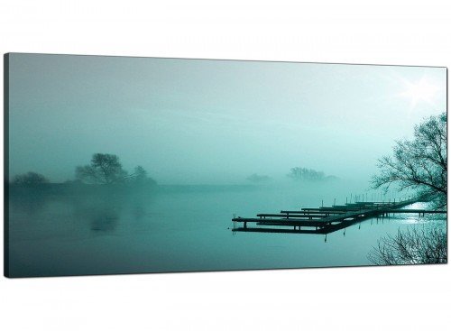Teal Coloured Sunrise Jetty Lake View Landscape Canvas Art