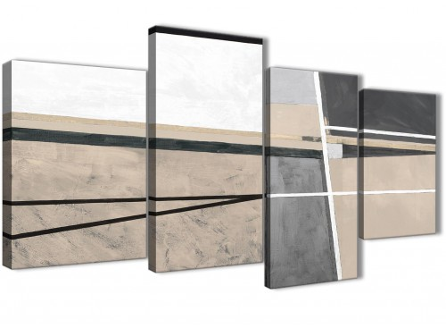 Beige Cream Grey Painting Bedroom Canvas Pictures Accessories - Abstract