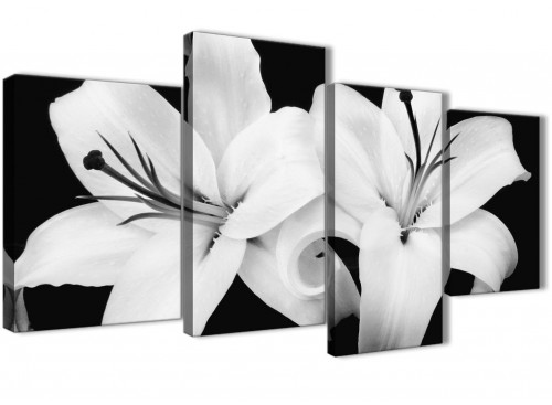 Extra Large Black White Lily Flower Bedroom Canvas Wall Art Decor - 4458 - 130cm Set of Prints