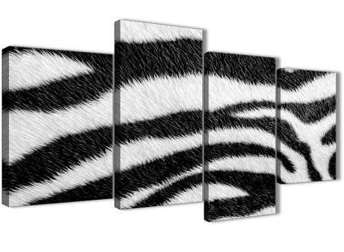 Extra Large Black White Zebra Animal Print Abstract Living Room Canvas Wall Art Decor - 4471 - 130cm Set of Prints