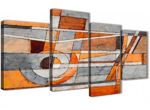 Extra Large Burnt Orange Grey Painting Abstract Bedroom Canvas Pictures Decor - 4405 - 130cm Set of Prints