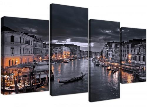 Venice Italy Gondola Black White City Canvas