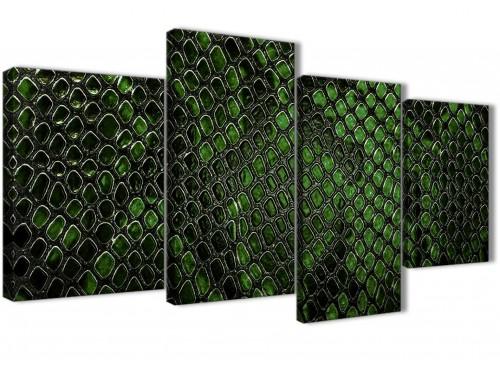 Extra Large Dark Green Snakeskin Animal Print Abstract Bedroom Canvas Wall Art Decor - 4475 - 130cm Set of Prints