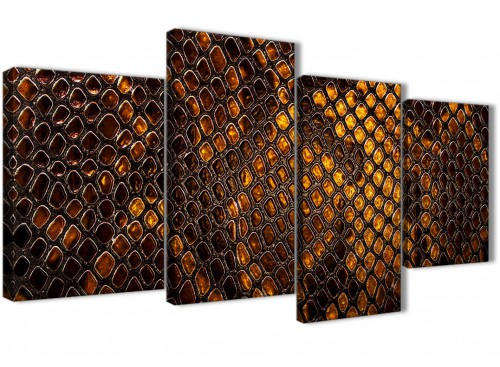 Mustard Gold Snakeskin Animal Print Living Room Canvas Wall Art Accessories - Abstract 1474 - 120cm Print
