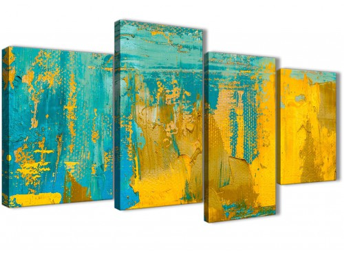 Extra Large Mustard Yellow and Teal Turquoise - Abstract Bedroom Canvas Pictures Decor - 4446 - 130cm Set of Prints