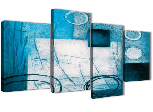 Extra Large Teal White Painting Abstract Bedroom Canvas Wall Art Decor - 4432 - 130cm Set of Prints