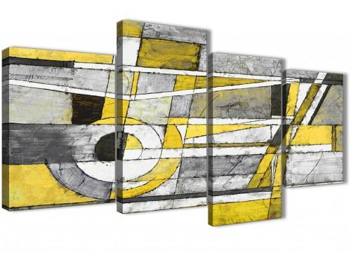 Yellow Grey Abstract Painting Canvas Wall Art