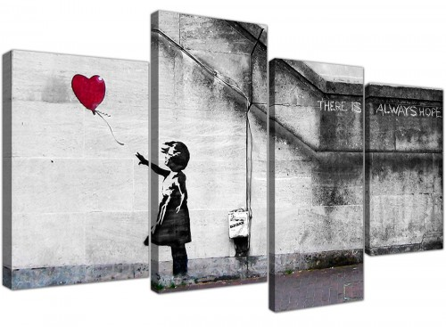 Modern Banksy Balloon Girl Red Heart Hope Canvas