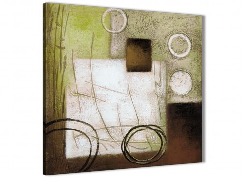 Framed Brown Green Painting Living Room Canvas Wall Art Decor - Abstract 1s421m - 64cm Square Print