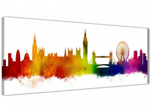 Skyline of London Cityscape Canvas Wall Art in Multi Coloured