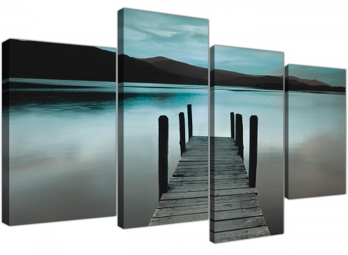 Teal Grey Coloured Lake Jetty View Landscape Canvas