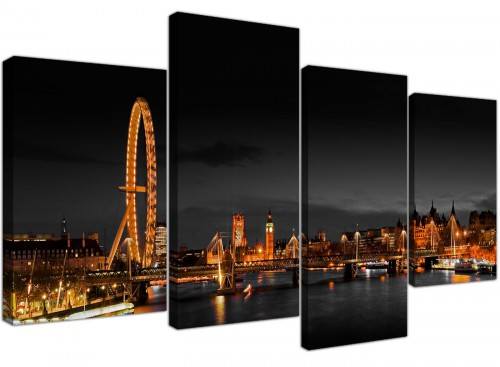 London Eye at Night Big Ben City Canvas