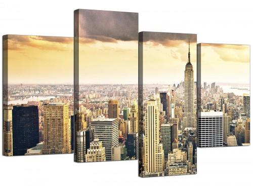 New York Manhattan Skyline Yellow Grey City Canvas