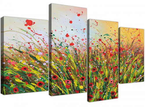 Modern Abstract Summertime Flowers Red Floral Canvas Prints
