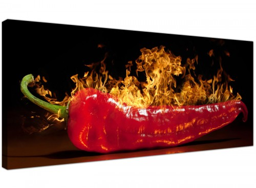 Red Hot Chilli Pepper Flaming Black Canvas