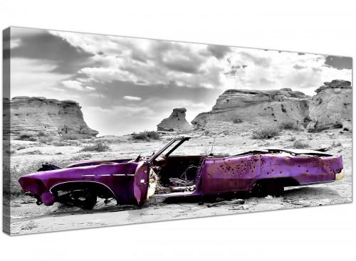 Cheap Canvas Wall Art Monochrome Grey Violet Wide Landscape 1144