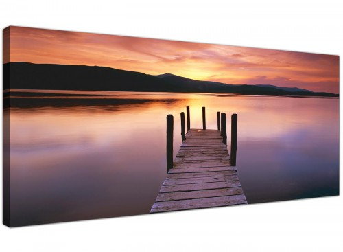 Cheap Canvas Prints Orange Panoramic Landscape 1214