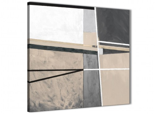 Modern Beige Cream Grey Painting Abstract Office Canvas Wall Art Decor 1s394l - 79cm Square Print
