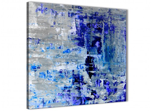 Modern Indigo Blue Grey Abstract Painting Wall Art Print Canvas Modern 64cm Square 1S358M For Your Dining Room