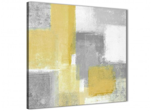 Modern Mustard Yellow Grey Abstract Living Room Canvas Wall Art Decor 1s367l - 79cm Square Print
