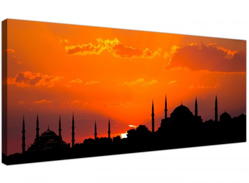 Mosque Istanbul Skyline Sunset Landscape Canvas Wall Art