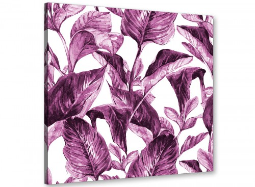 Modern Plum Aubergine White Tropical Leaves Canvas Modern 64cm Square 1S319M For Your Living Room