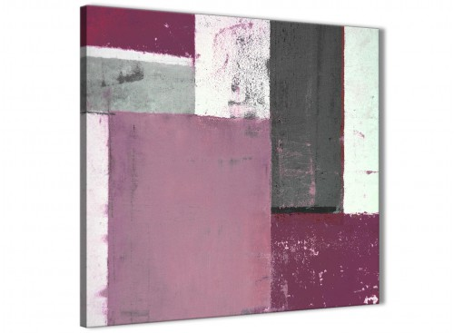 Modern Plum Gray Abstract Painting Canvas Wall Art Picture Modern 79cm Square 1S342L For Your Living Room
