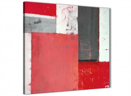 Modern Red Grey Abstract Painting Canvas Wall Art Modern 49cm Square 1S343S For Your Bedroom