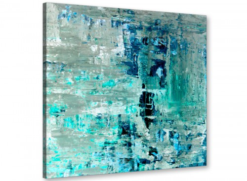Modern Turquoise Teal Abstract Painting Wall Art Print Canvas Modern 49cm Square 1S333S For Your Bedroom