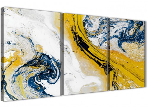 Mustard Yellow and Blue Swirl Living Room Canvas Pictures Accessories - Abstract Print