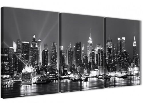 Next Set of 3 Panel Landscape Canvas Wall Art New York Hudson River Skyline - 3435 Black White Grey 126cm Set of Prints