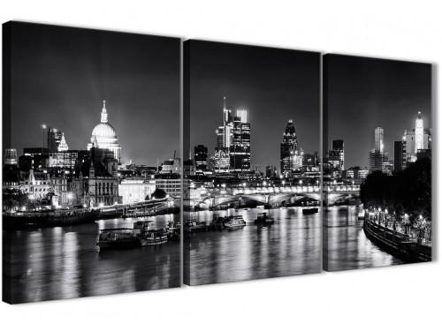 Next Set of 3 Piece Landscape Canvas Wall Art River Thames Skyline of London - 3430 Black White Grey 126cm Set of Prints