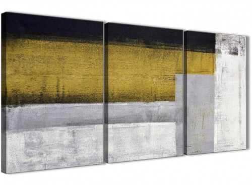 Mustard Yellow Grey Abstract Canvas Pictures