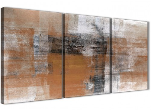 Orange Black White Abstract Painting Canvas Wall Art