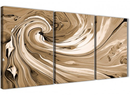 Oversized Brown Cream Swirls Modern Abstract Canvas Wall Art Split 3 Panel 125cm Wide 3349 For Your Dining Room
