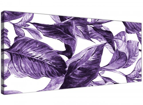 Oversized Dark Purple White Tropical Exotic Leaves Canvas Modern 120cm Wide 1322 For Your Dining Room