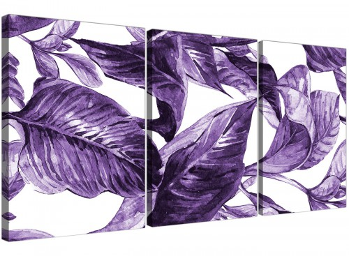 Oversized Dark Purple White Tropical Exotic Leaves Canvas Split 3 Part 3322 For Your Dining Room