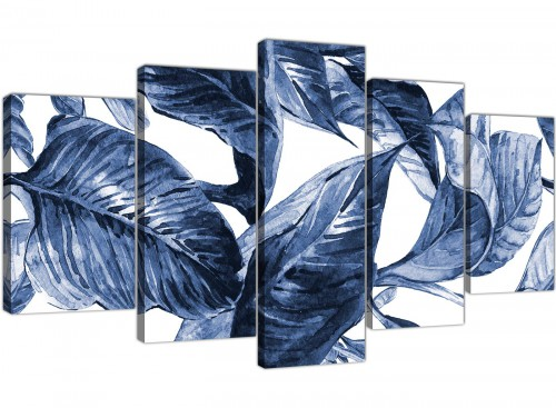 Oversized Extra Large Indigo Navy Blue White Tropical Leaves Canvas Multi 5 Piece 5320 For Your Hallway