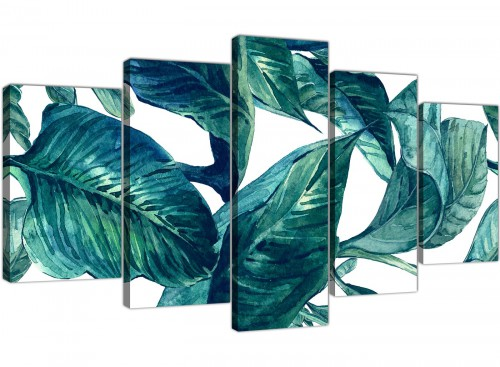 Oversized Extra Large Teal Blue Green Tropical Exotic Leaves Canvas Multi 5 Piece 5325 For Your Bedroom