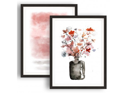Oversized Framed Floral Blush Pink Abstract Painting - 2fb558 - 108.24cm XL Set Artwork